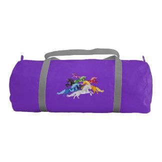 Illustration colorful wild Unicorns Gym Bag