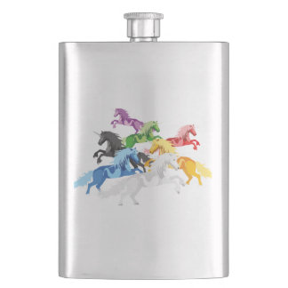Illustration colorful wild Unicorns Hip Flask