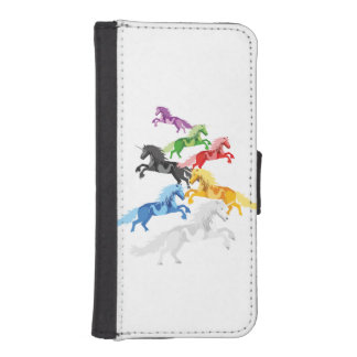 Illustration colorful wild Unicorns iPhone SE/5/5s Wallet Case