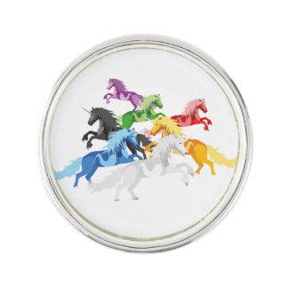 Illustration colorful wild Unicorns Lapel Pin