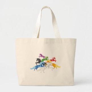 Illustration colorful wild Unicorns Large Tote Bag