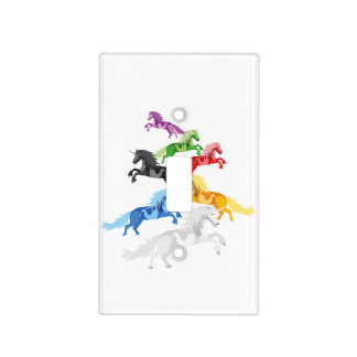 Illustration colorful wild Unicorns Light Switch Cover