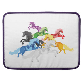 Illustration colorful wild Unicorns MacBook Pro Sleeves