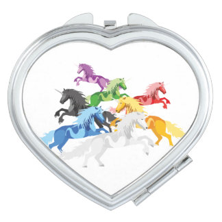 Illustration colorful wild Unicorns Makeup Mirrors