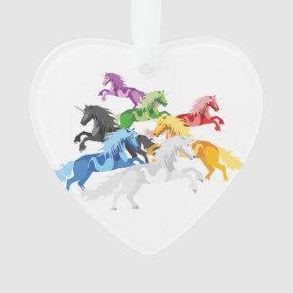 Illustration colorful wild Unicorns Ornament