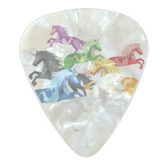 Illustration colorful wild Unicorns Pearl Celluloid Guitar Pick