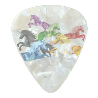 Illustration colorful wild Unicorns Pearl Celluloid Guitar Pick