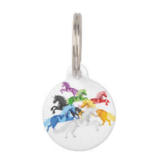 Illustration colorful wild Unicorns Pet ID Tag