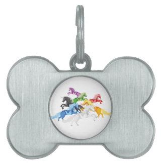 Illustration colorful wild Unicorns Pet Name Tag