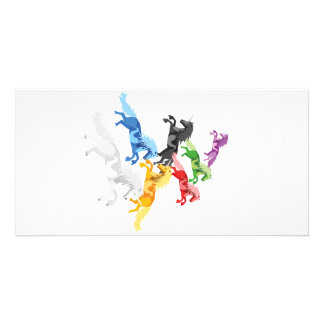 Illustration colorful wild Unicorns Picture Card