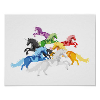 Illustration colorful wild Unicorns Poster