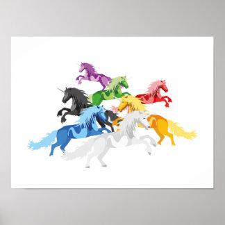Illustration colorful wild Unicorns Poster
