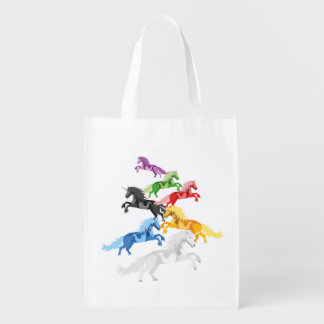 Illustration colorful wild Unicorns Reusable Grocery Bag