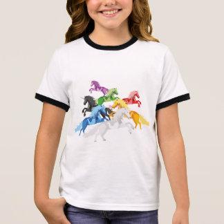 Illustration colorful wild Unicorns Ringer T-Shirt