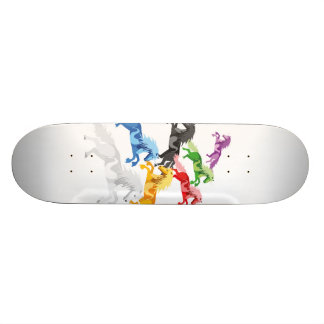 Illustration colorful wild Unicorns Skateboard