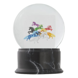 Illustration colorful wild Unicorns Snow Globe
