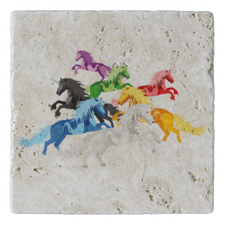 Illustration colorful wild Unicorns Trivet