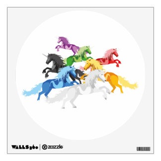 Illustration colorful wild Unicorns Wall Decal