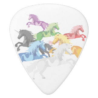 Illustration colorful wild Unicorns White Delrin Guitar Pick
