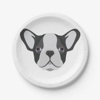 Illustration cute French Bulldog Paper Plate