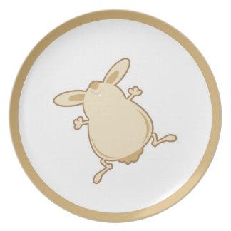 Illustration de lapin de bande dessinée assiette