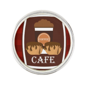 Illustration delicious cup of coffee lapel pin