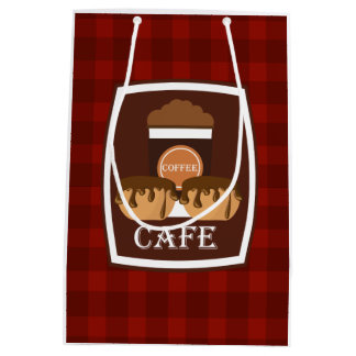 Illustration delicious cup of coffee medium gift bag