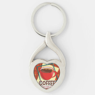 Illustration delicious cup of coffee Silver-Colored twisted heart keychain