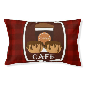 Illustration delicious cup of coffee small dog bed