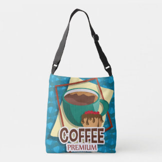 Illustration delicious cup of coffee with a muffin crossbody bag