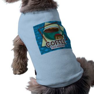 Illustration delicious cup of coffee with a muffin doggie tshirt