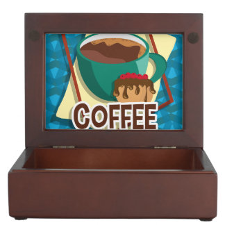 Illustration delicious cup of coffee with a muffin keepsake box