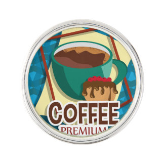 Illustration delicious cup of coffee with a muffin lapel pin