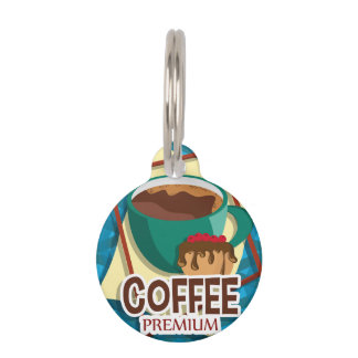 Illustration delicious cup of coffee with a muffin pet ID tag
