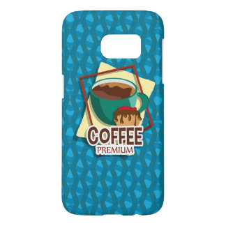 Illustration delicious cup of coffee with a muffin samsung galaxy s7 case