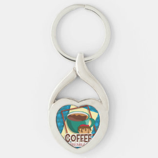 Illustration delicious cup of coffee with a muffin Silver-Colored twisted heart keychain