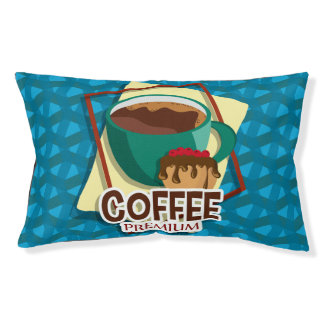 Illustration delicious cup of coffee with a muffin small dog bed