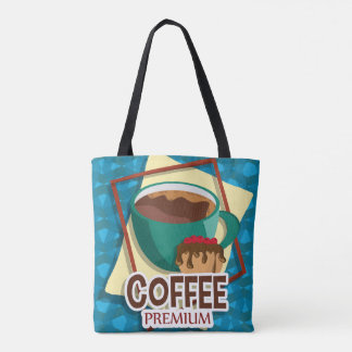 Illustration delicious cup of coffee with a muffin tote bag