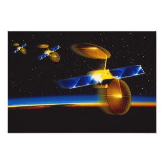 Illustration des satellites au-dessus de l'horizon tirage photo