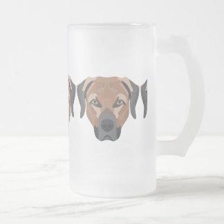 Illustration Dog Brown Labrador Frosted Glass Beer Mug