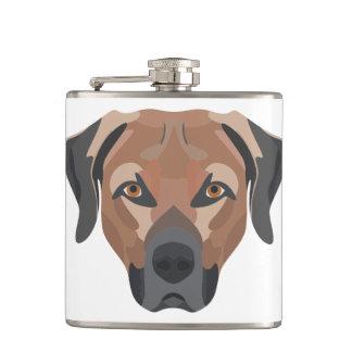 Illustration Dog Brown Labrador Hip Flask