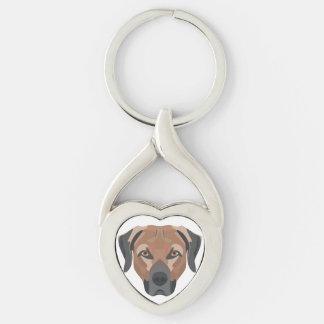 Illustration Dog Brown Labrador Keychain