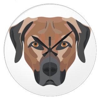 Illustration Dog Brown Labrador Large Clock