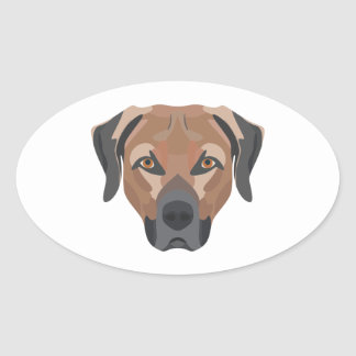 Illustration Dog Brown Labrador Oval Sticker