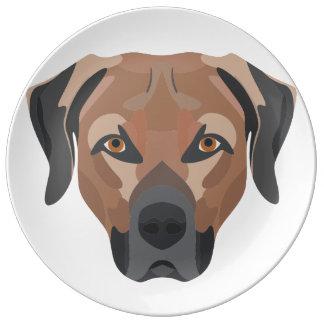 Illustration Dog Brown Labrador Plate