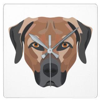 Illustration Dog Brown Labrador Square Wall Clock