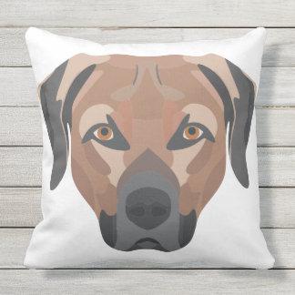 Illustration Dog Brown Labrador Throw Pillow