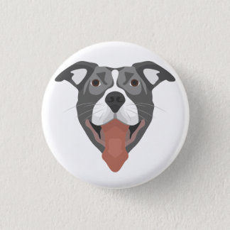 Illustration Dog Smiling Pitbull 1 Inch Round Button