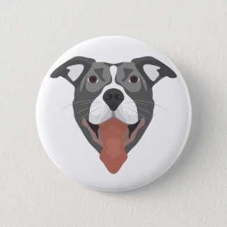 Illustration Dog Smiling Pitbull 2 Inch Round Button