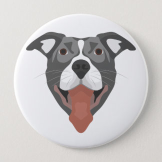 Illustration Dog Smiling Pitbull 4 Inch Round Button